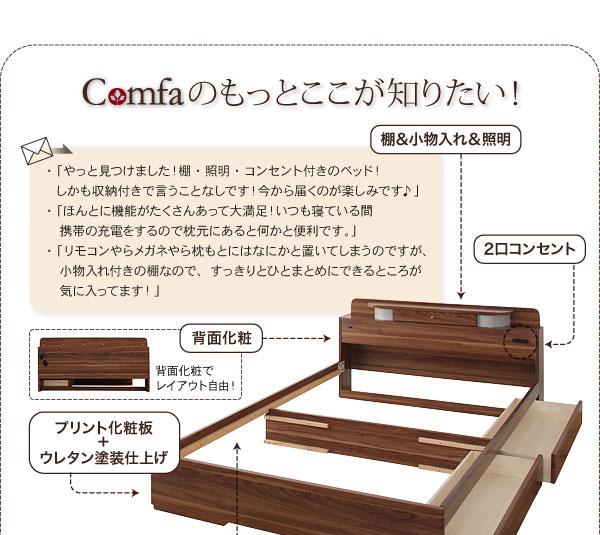 照明・コンセント付き収納ベッドコンファ Comfaのココが知りたい
