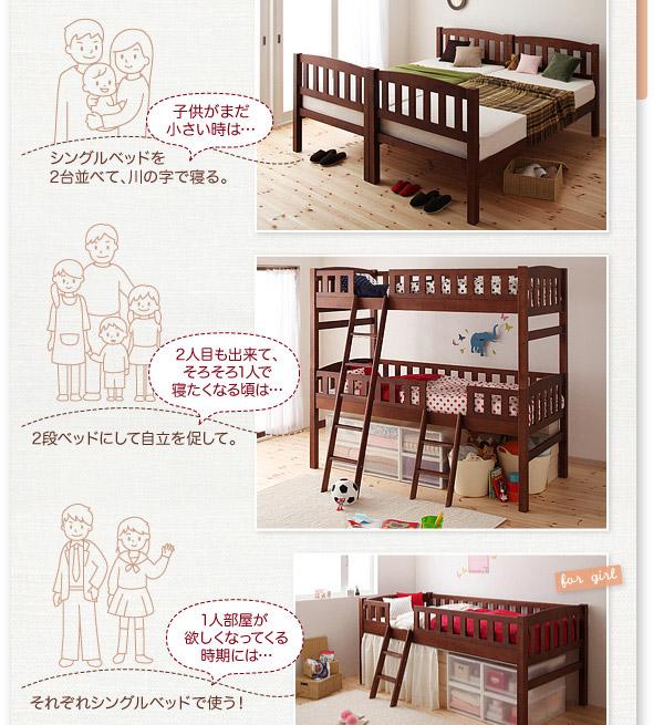 1人部屋が欲しくなってくる時期には、それぞれシングルベッドで使えるます。